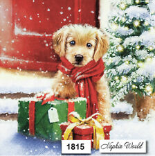 (1815) TWO Individual Paper LUNCHEON Decoupage Napkins  CHRISTMAS PUPPY GIFT DOG