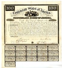 1861 $100 Confederate Bond Only 1,000 issued