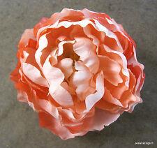 "Full 5"" Peach Cream Peony Silk Flower Brooch Pin,Rockabilly,Hat,Corsage,Lapel"