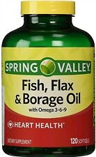 ORIGINAL Spring Valley Fish, Flaxseed, Borage Oil, 120ct Contains Omega 3, 6, 9
