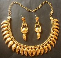 22K Gold Plated Indian Mango Shape Nice Wedding party Necklace 8'' earrings Set