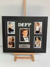 UNIQUE PROFESSIONALLY FRAMED, SIGNED JOHNNY DEPP PHOTO COLLAGE WITH PLAQUE.