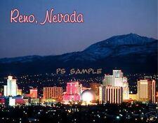 NEVADA - RENO NIGHT SKYLINE - Travel Souvenir Magnet