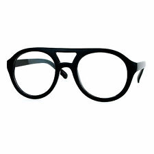 Super Retro Eyeglasses Clear Lens Flat Top Round Double Bridge Frame BLACK