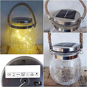 Solar lampe leuchte Licht Garten Laterne Windlicht Hänge Deko Glas Tisch hängend