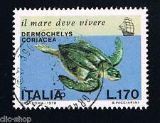 ITALIA 1 FRANCOBOLLO SALVAGUARDIA DEL MARE TARTARUGA MARINA 1978 usato