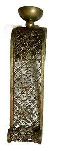 """Candle Holder Wall Sconce Scrolling Floral Pattern Metal Antique Gold 20"""""""