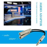6.35mm Male Jack Stereo Splitter Cable 2X 1/4 inch Female Plug Audio Y Cord