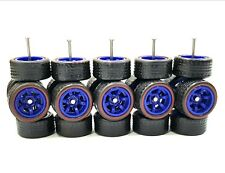 5 sets 6 spoke CM6 6sp Blue Redline Rubber Tires long axle fit 1:64 Hot Wheels