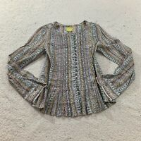 Anthropologie Maeve Gelise Blouse Button Down Shirt Long Sleeve Floral Top Sm