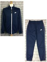 NIKE MENS POLY NAVY BLUE TRACK SUIT TOP TRACK PANTS RRP £60 FULL ZIP
