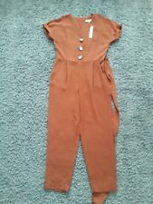 BNWT Red Herring Womens Jumpsuit - Orange- Brown UK Size 12 Belted V-Neck