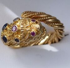18ct Gold Lion Chimera Ring coloured sapphires with Ilias Lalaounis hallmark.
