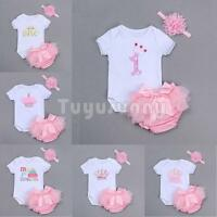 Girls Baby Infant Ruffle Bloomer 3PCS Princess Romper Headband Pants Set Clothes
