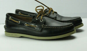 Men's Sperry Top-Sider A/O 2-Eye Dark Green Boat Shoe Size 8