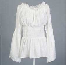 Women White Lace Hippie Boho Peasant Long Sleeves off Shoulder Blouse Top Plus 2xl