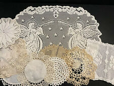 Vintage Lot of 9 Linens Crochet Lace Doilies Doily & Runners / White Ivory Cream