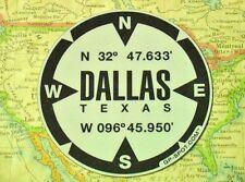Dallas, Texas GPS Decal - Reflective Vinyl Sticker - GPS Marker