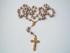 Moderner goldfarbener Rosenkranz mit bunten Porzellan Kugeln & Kreuz 64,4 g