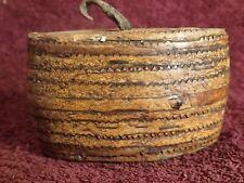 WELL SIGNED 1800-s ANTIQUE BIRCH BARK SNUFF TOBACCO BOX FINLAND SCANDINAVIA