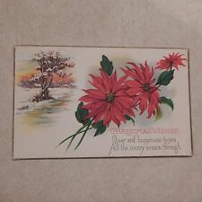 Vintage Postcard Christmas Wishes Poem With Winter Scene And Poinsettias