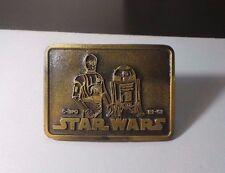 Vintage Star Wars R2D2 & C3PO Brass Metal Belt Buckle 6.2 ounces NEW & UNUSED