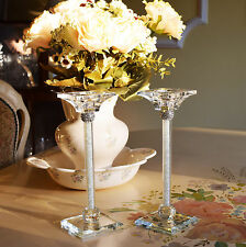 Pair of Crystal Cut Candle Stick Holder Swarovski Elements with Gift Box