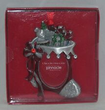 "Pinnacle Photo Ornament STOCKING Pewter Euro Crystals  Holds 1 1/2"" x 2"" Photo"