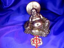FSH107 Feng Shui Laughing Bronze Buddha with Mystic Knot Coin Circle