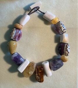 Chunky Amber Amethyst Ceramic Clay Shell Beaded Statement Runway Necklace