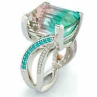 Fashion Silver Multicolor Gemstone CZ Ladies Wedding Engagement Ring Size 6-10