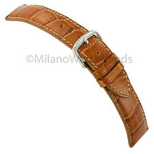 20mm Hadley-Roma Genuine Leather Tan Alligator Grain Stitched Watch Band MS834