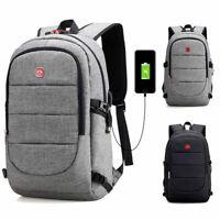 Mens Anti-Theft Shoulder School Bag USB Charging Travel Laptop Backpack Book Bag