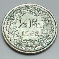 1963B Silver Switzerland 1/2 Half Franc Helvetia Swiss Uncirculated Coin D912