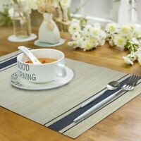 PVC Placemats Set of 6 Woven Washable Heat Resistant Non Slip Dinner Table Mats