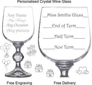 Personalised Crystal 9oz Wine Glass, Leaving, Birthday, Christmas, Teachers Gift