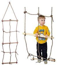 Kids Climbing Net With Three Wooden Rungs Rope Playground Equipment Outdoor