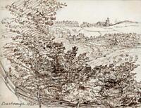 HANNAH SARAH TURNER BRIGHTWEN Small Pen & Ink Drawing SCARBOROUGH YORKSHIRE 1865