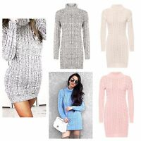 NEW WOMEN LADIES CABLE KNITTED LONG SLEEVE POLO ROLL NECK JUMPER DRESS SIZE 8-22