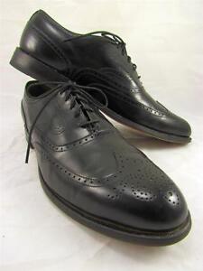 Footjoy Classics Wingtips Oxfords Black Leather Dress Shoes Mens 9 1/2 A EUC