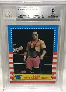 1987 WWF Topps Bret Hit Man Hart Rookie Card #1 BGS 9 Mint Highest Graded Pop 3