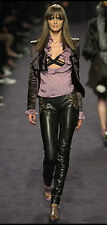 TOM FORD YVES SAINT LAURENT RIVE GAUCHE LEATHER LEGGING PANTS LACE INSET 38/4-6