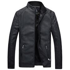 Men's Leisure Leather Jacket Biker Jackets Motorcycle Coat Slim Fit Outwear Tops
