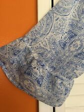 2X New Baby Blue White Floral Print TUNIC BOHO PEASANT TOP BLOUSE 18/20/22