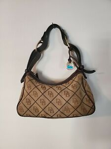 Dooney & Bourke Monogrammed Canvas & Leather Small Handbag Baguette Shoulder Bag