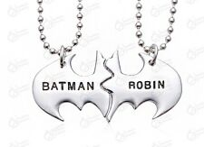 Personalized Friendship Batman And Robin Twin Pendant Best Friend Necklace W/Bag