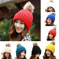 Hot Women Winter Warm Beret Rabbit Fur Ball Hat Crochet Knitted Wool Cap Ski Cap