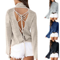 Women Casual Long Sleeve Knitted Pullover Loose Sweater Jumper Hot Top KnitwearK