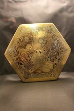 Vintage Artstyle Chocolate Company Candy Tin Hexagon shaped Red Black & Gold