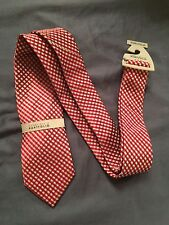 bnwt perry ellis portfolio plaid red white blue silk tie